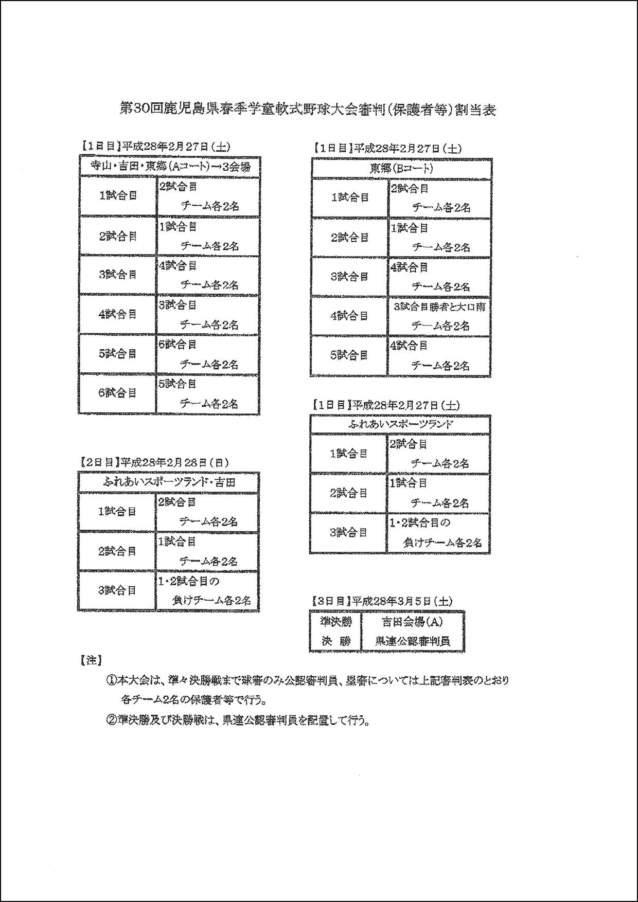 第30回春季学童審判割当表・各施設の利用に関するお願い-1