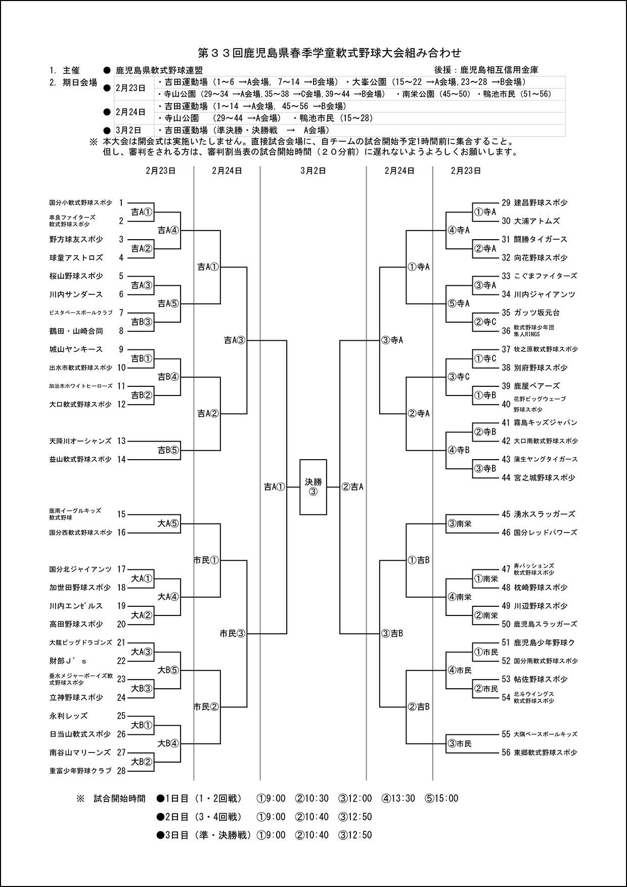 【組合せ、審判割当、試合会場】第33回県春季学童大会