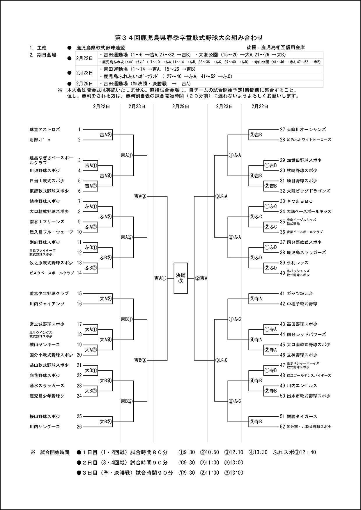 【組み合わせ】第34回県春季学童大会